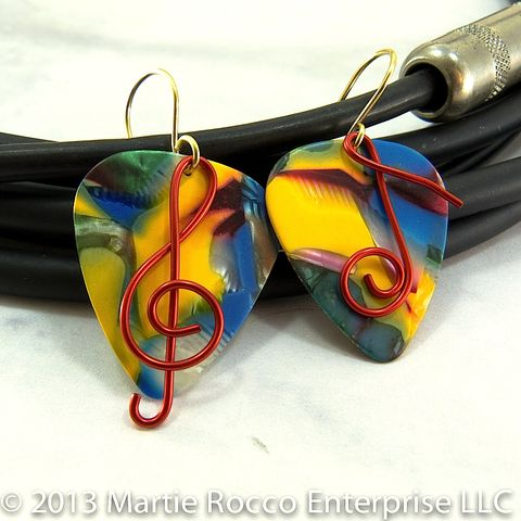 Multicolor,mosaic,Guitar,Pick,earrings,with,red,wire,Treble,clef,and,music,note,Multicolor mosaic Guitar Pick earrings with red wire Treble clef and whole note