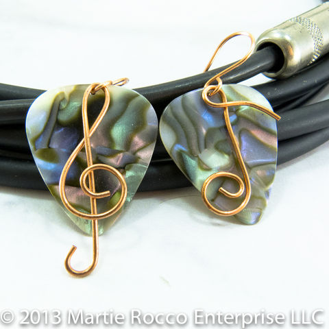 Abalone,Guitar,Pick,earrings,with,wire,Treble,clef,and,music,note,Guitar Pick earrings with wire Treble clef and music note. Brass, silver plate, Sterling Silver, copper