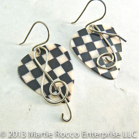 Black,and,white,check,Guitar,Pick,earrings,with,wire,treble,clef,music,note,Black and white check Guitar Pick earrings with wire treble clef and music note, brass, sterling silver, copper