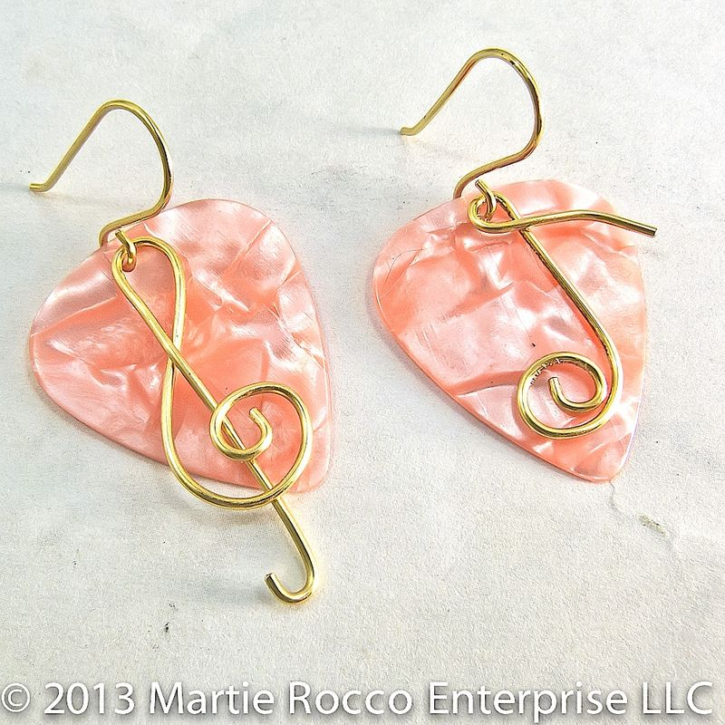Orange Peach Pearl Guitar Pick Earrings with wire treble clef and music note - product images  of