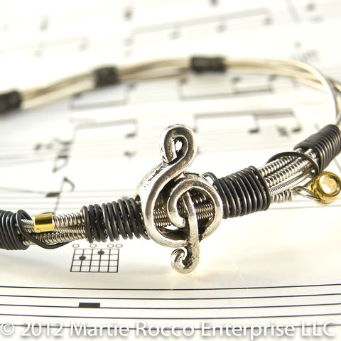 Guitar,String,bangle,bracelet,music,charm,black,annealed,wire