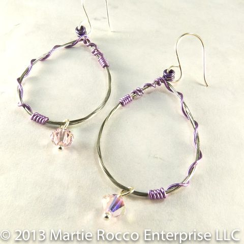 Guitar,string,earrings,large,oval,hoop,with,purple,wire,wrap,and,a,crystal,drop
