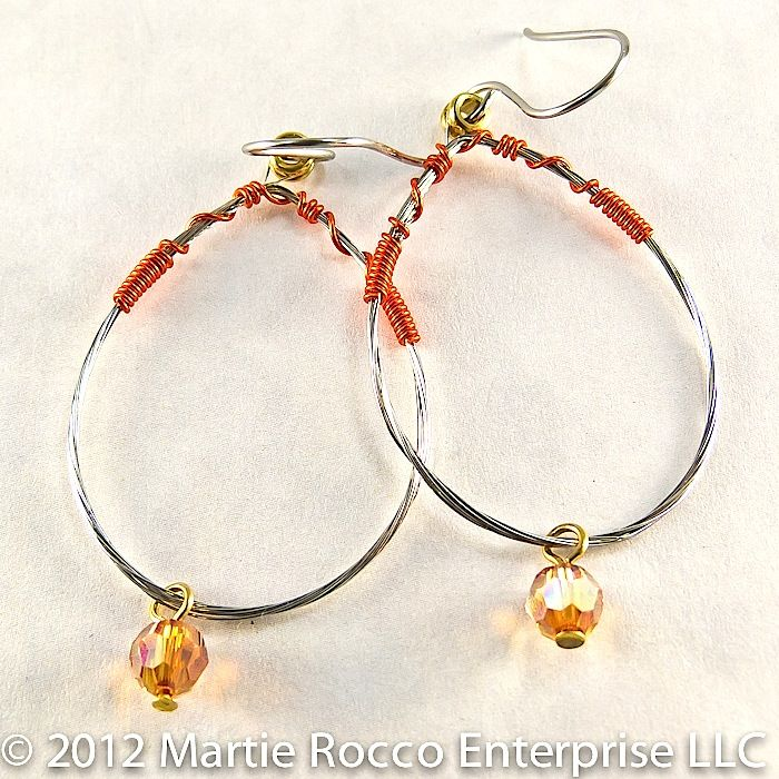 Guitar String oval hoop earring orange wire wrap and crystal - product images  of