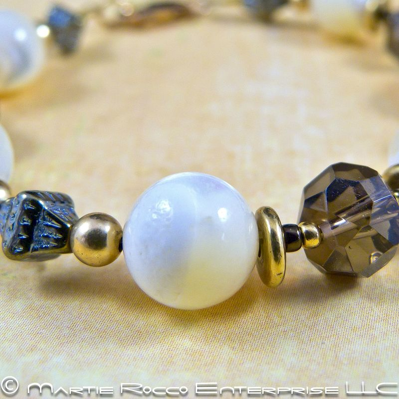 Mother of Pearl bracelet with Smokey quartz, brass, and gold filled  - product images  of