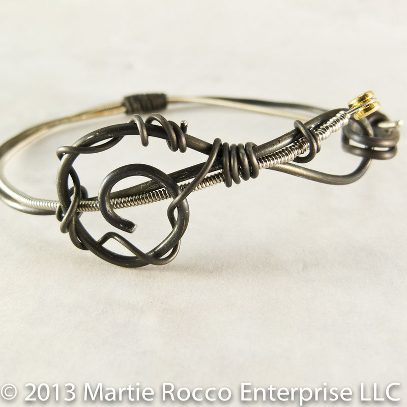 Guitar String bangle bracelet black anneal wire treble clef - product images  of