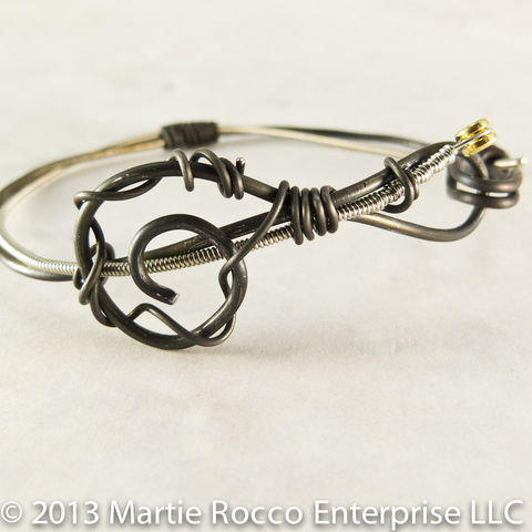 Guitar,String,bangle,bracelet,black,anneal,wire,treble,clef