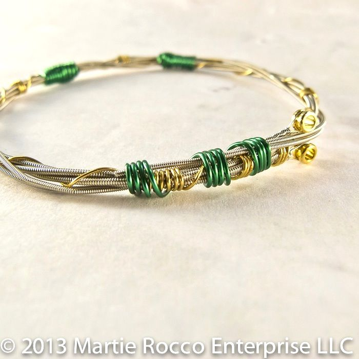 Guitar String bangle bracelet with green and gold wire wrap - product images  of