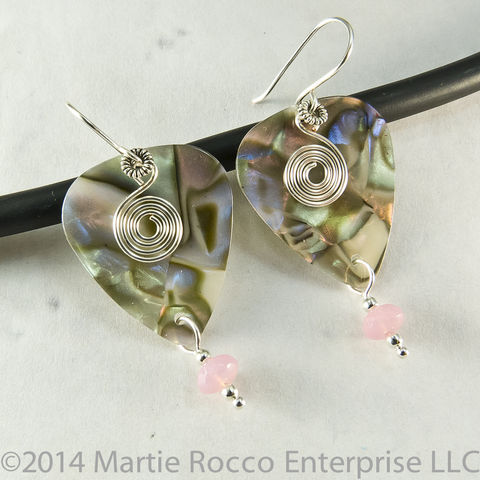 Abalone,Guitar,Pick,Earrings,silver,spiral,charm,pink,glass,bead, Guitar Pick Earrings, silver spiral, charm, pink, glass bead