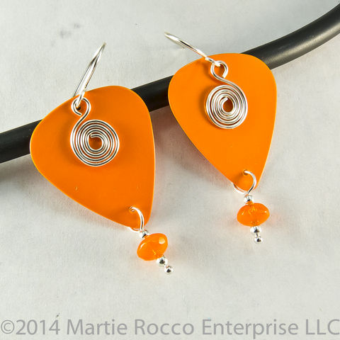 Orange,guitar,pick,dangle,earrings,silver,spiral,charm,glass,bead,Orange guitar pick dangle earrings silver spiral charm glass bead