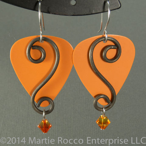 Orange,guitar,pick,earrings,with,anneal,wire,scroll,and,crystal,drop,Orange guitar pick earrings anneal wire scroll crystal drop