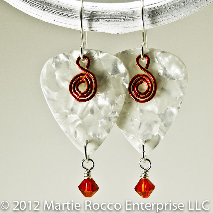 White pearl Guitar Pick dangle earrings, red spiral charm and crystals - product images  of
