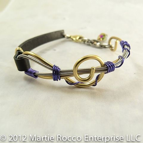 Guitar,string,bracelet,brass,Treble,clef,,lavender,wire,wrap,,leather,Guitar string bracelet brass G clef, lavender wire wrap, leather