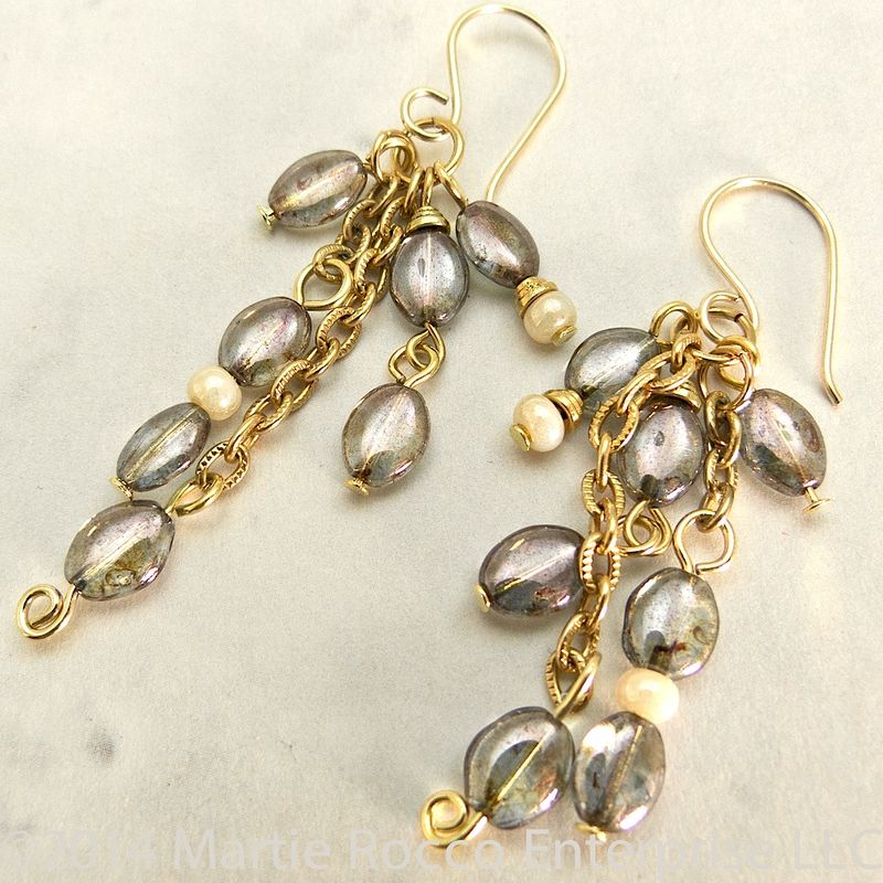 Grey oval glass dangle earrings, gold plate vintage chain - product images  of