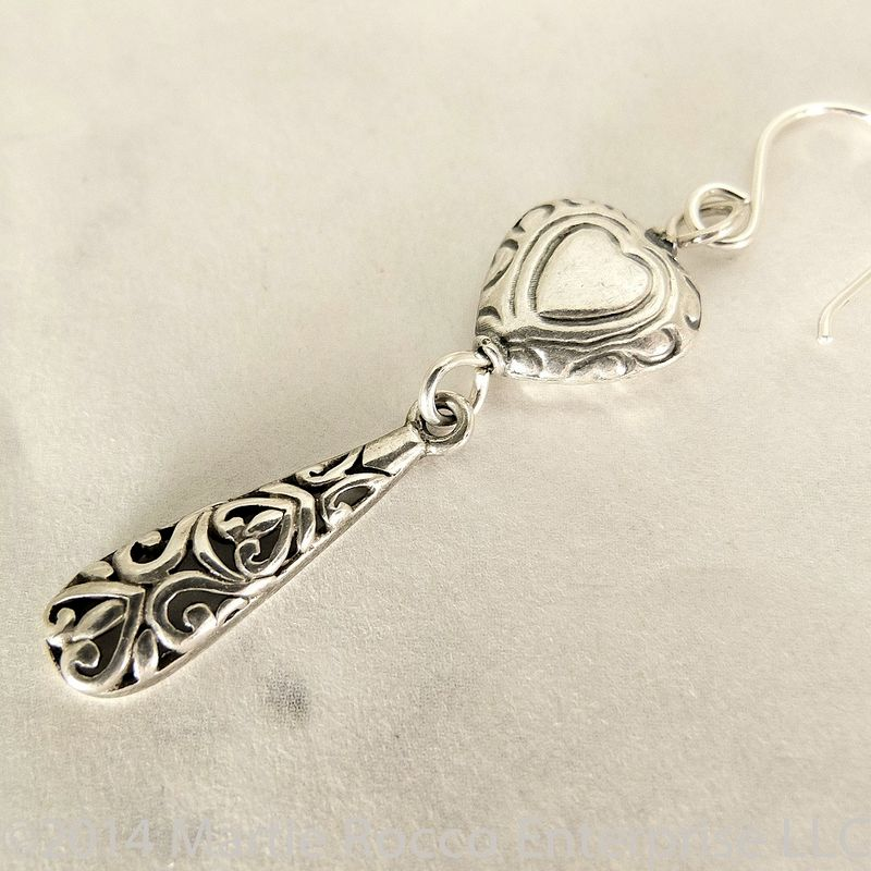 Long Sterling silver filigree drop earrings with a Sterling Silver heart - product images  of