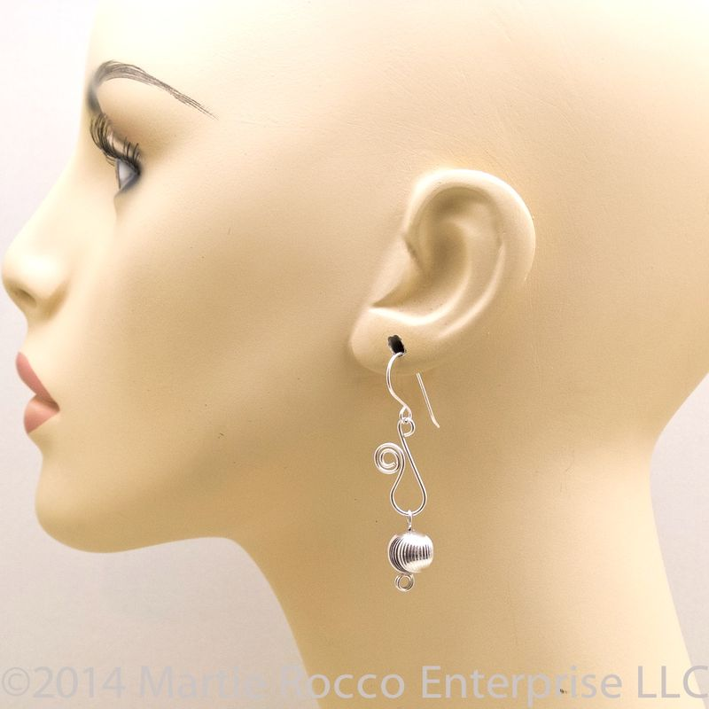 Sterling silver earrings with diamond cut bead and scroll wire - product images  of