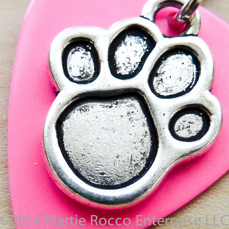 Guitar Pick Pet jewelry for collar with pewter paw charm. - product images  of