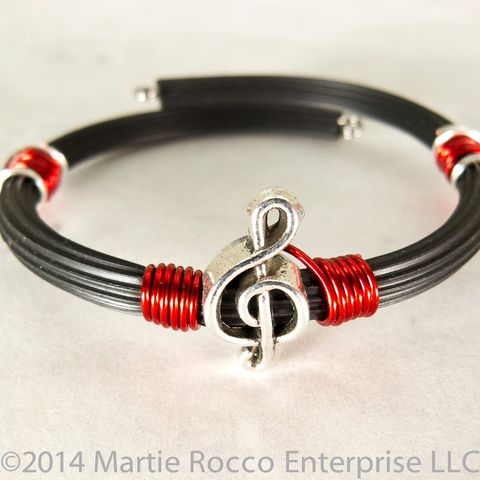 Pewter,Treble,clef,bracelet,red,wire,wrap,rubber,tube,memory,Pewter Treble clef bracelet red wire wrap rubber tube memory wire