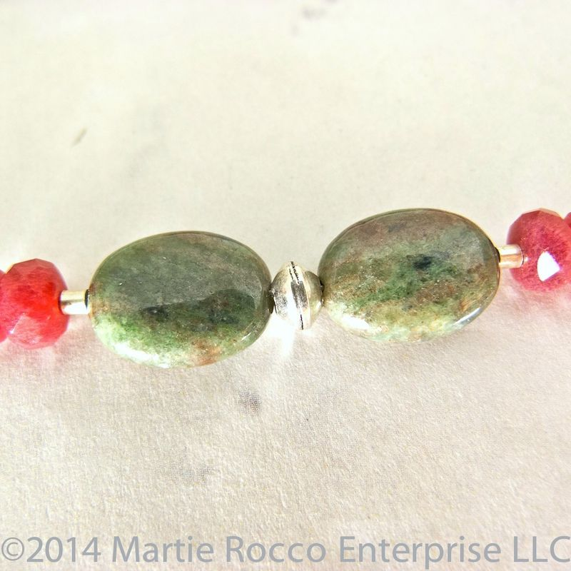 Red Green Garnet necklace with strawberry quartz and sterling silver - product images  of