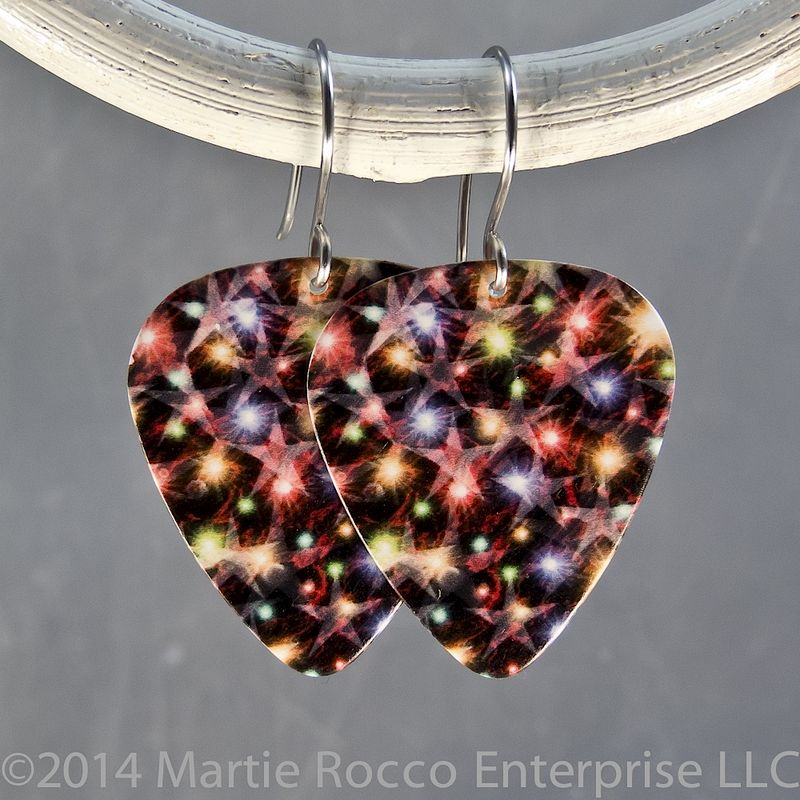 Red green purple sparkle star print Guitar Pick Earrings - product images