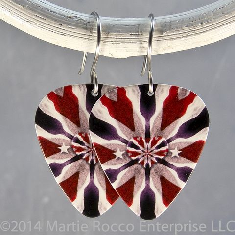 Red,white,and,blue,heart,print,Guitar,Pick,Earrings,Red white and blue heart print Guitar Pick Earrings