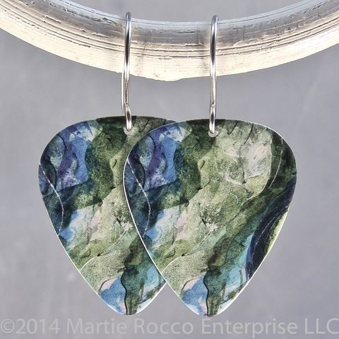 Abstract,blue,green,water,print,Guitar,Pick,Earrings,Abstract blue green water print Guitar Pick Earrings