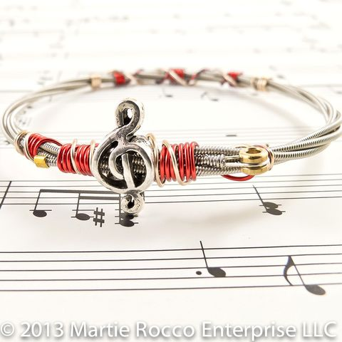 Guitar,String,bangle,red,artistic,wire,wrap,treble,music,bead,Guitar String bangle red artistic wire wrap treble music bead