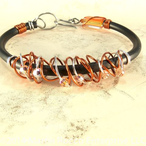 Orange,and,black,rubber,wire,bangle,with,crystals