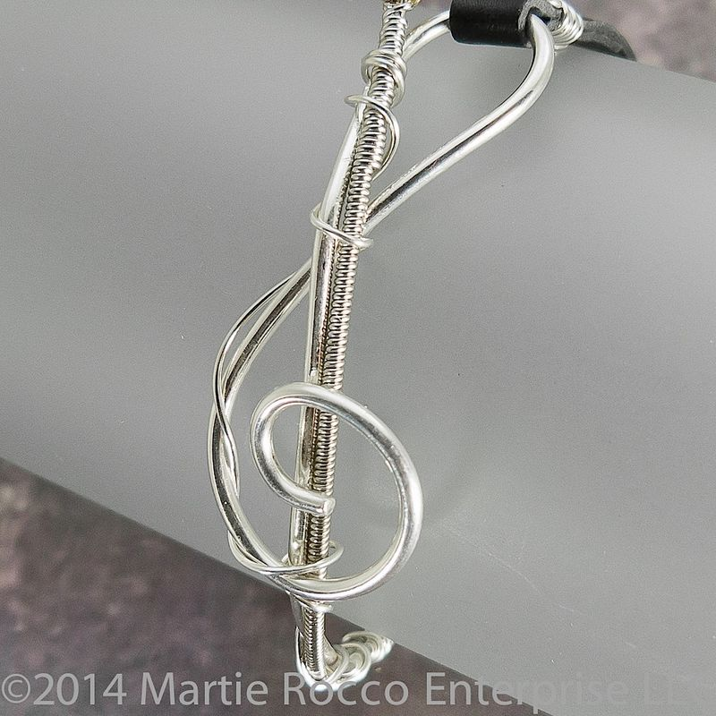 Guitar string bracelet, Sterling Silver wire music Treble clef, leather - product images  of