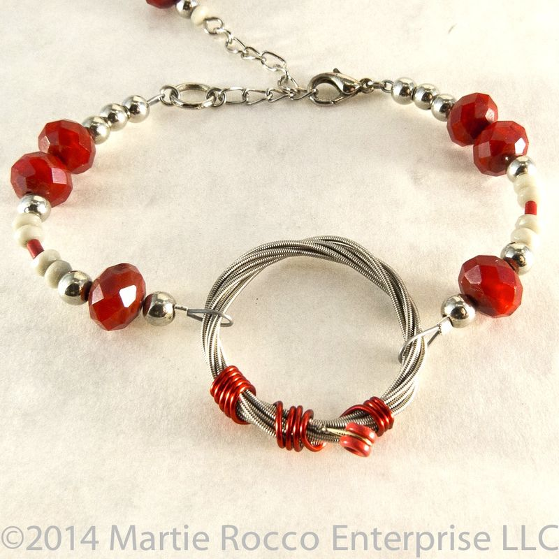 Red and grey faceted glass Guitar String bracelet.  - product images  of