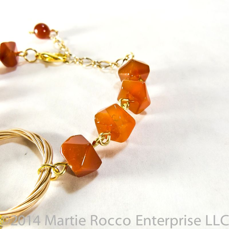 Guitar String bracelet orange carnelian faceted chunks.  - product images  of