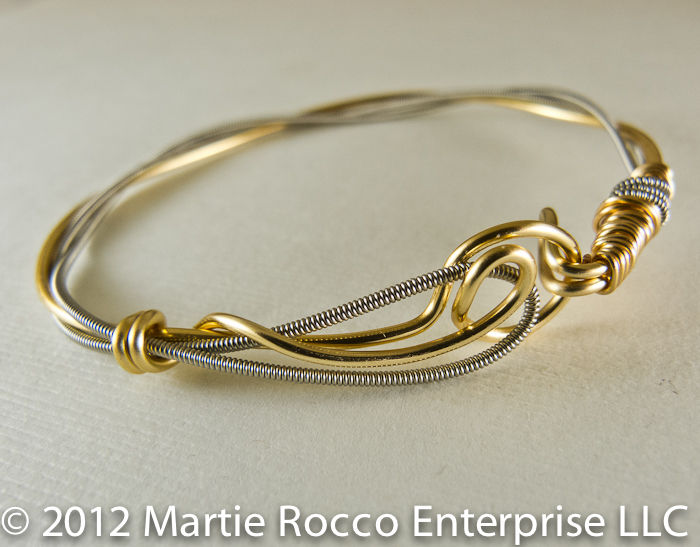 Guitar String bangle with gold plated wire, hook clasp. - product images