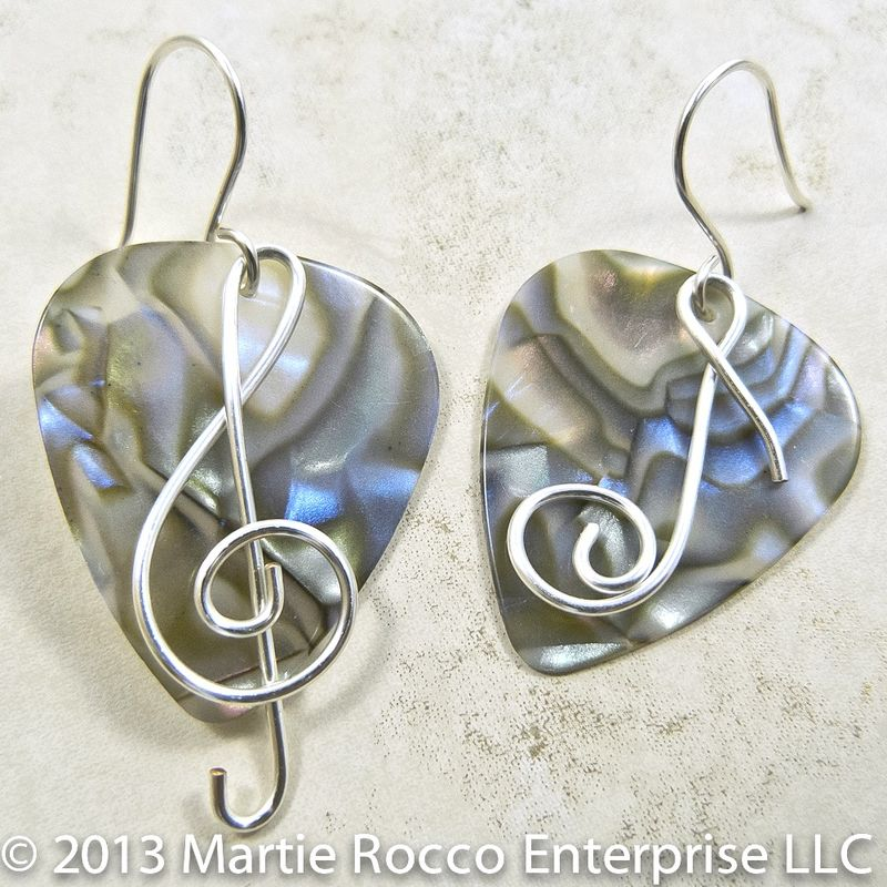 Abalone Guitar Pick earrings with wire Treble clef and music note - product images  of