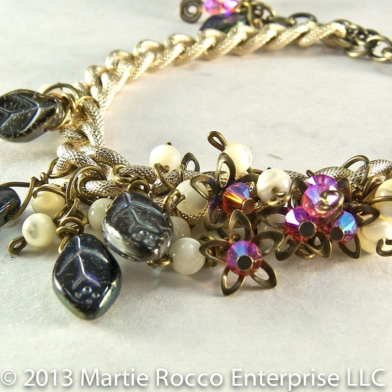 Bauble bracelet with vintage chain, glass, crystals, and mother of pearl - product images  of