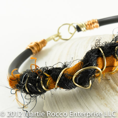 Orange,and,black,Silk,yarn,bangle,bracelet,gold,copper,wire.