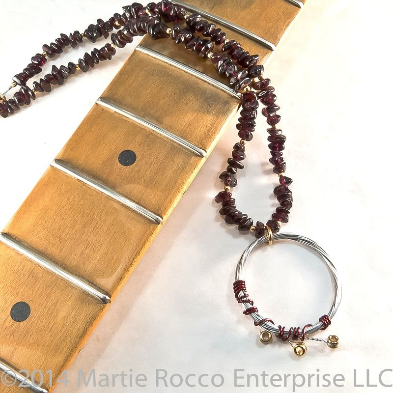 Garnet chip and Guitar String pendant necklace.  - product images  of
