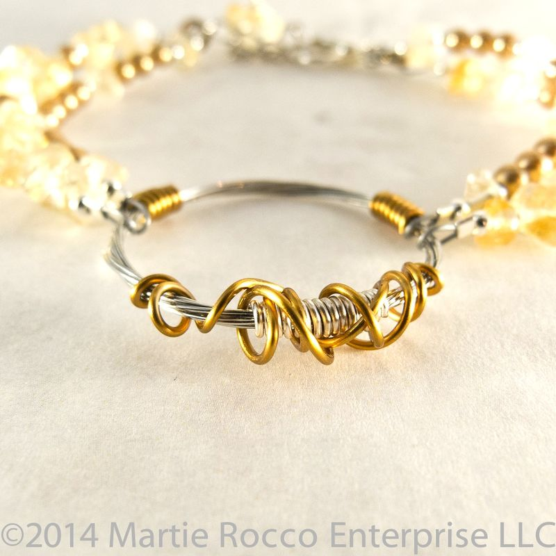 Citrine chip Guitar String bracelet bronze pearls, and wire.  - product images  of
