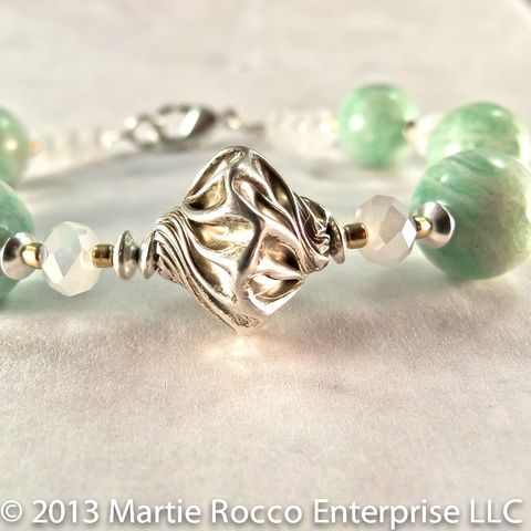 Amazonite,and,sterling,silver,bracelet,Amazonite and sterling silver bracelet