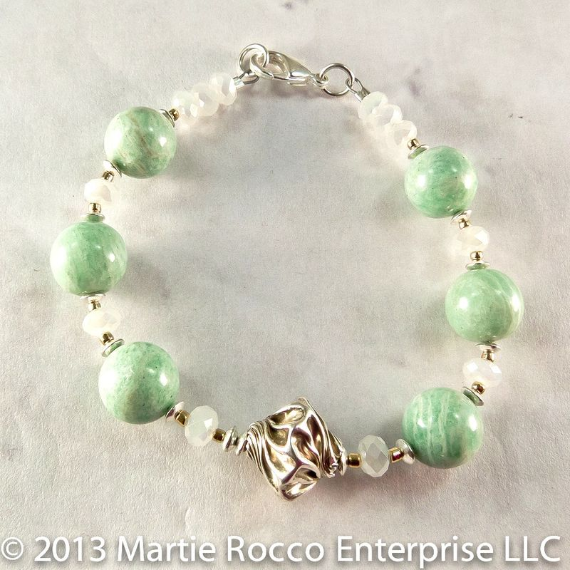 Amazonite and sterling silver bracelet - product images  of