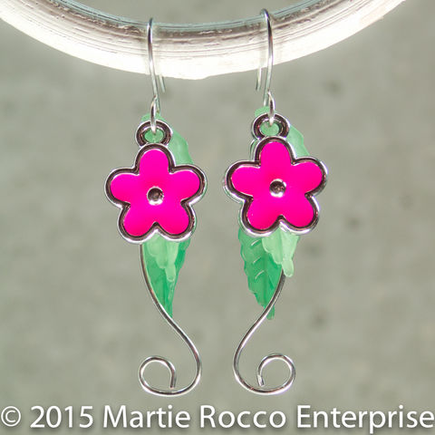 Magenta,Hippy,flower,dangle,earrings,,silver,wire,stem,,with,leaves,Magenta Hippy flower dangle earrings, silver wire stem, with leaves