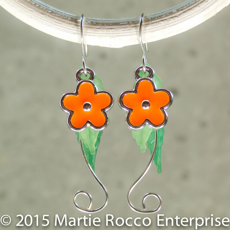 Orange Hippy flower dangle earrings, silver wire stem, with leaves - product images  of