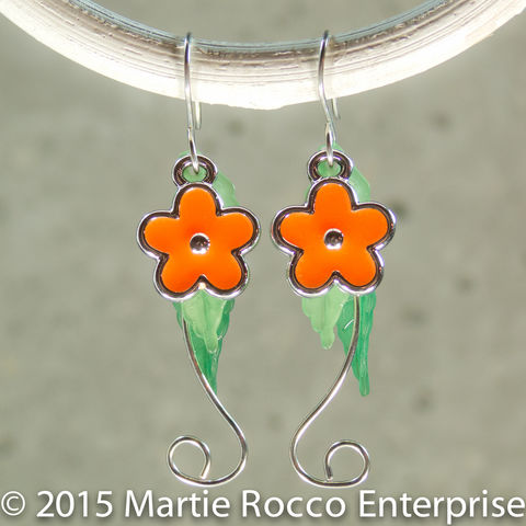 Orange,Hippy,flower,dangle,earrings,,silver,wire,stem,,with,leaves,Orange Hippy flower dangle earrings, silver wire stem, with leaves