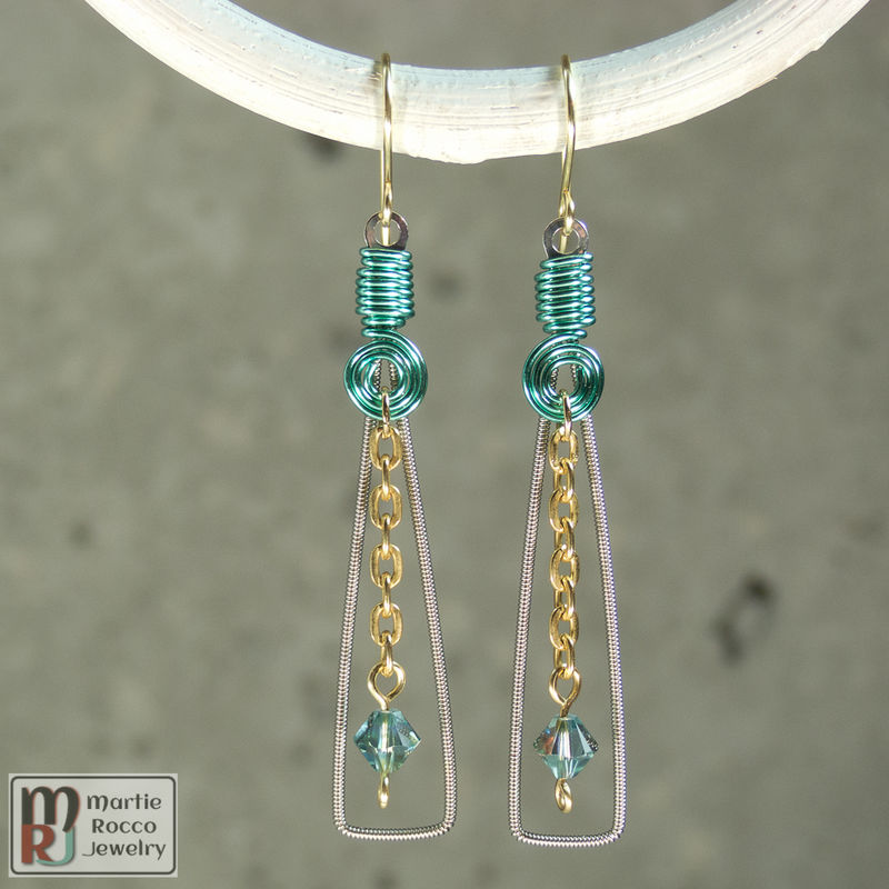 Guitar String Earring long rectangle pale green wire wrap, crystal drop - product images  of