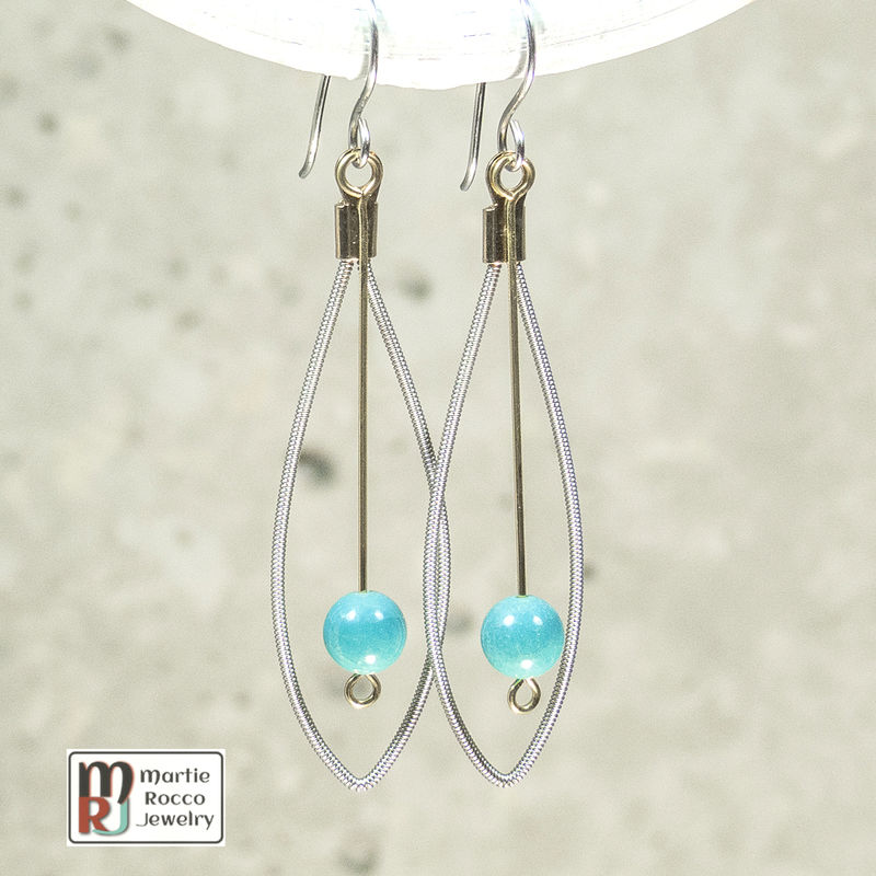 Guitar String Earrings with turquoise bead drop - product images  of