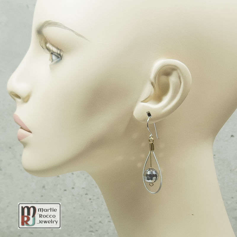 Guitar String Earrings with faceted mirrored glass bead drop - product images  of