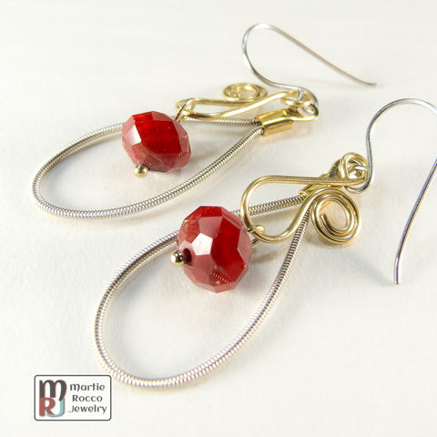Guitar,String,Earrings,with,red,faceted,glass,bead,drop,on,gold,wire,vine,guitar strings, repurposed, reused, music