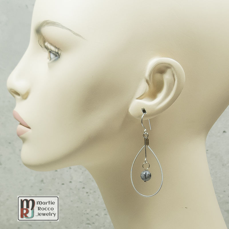 Guitar String oval Earrings with Larkavite bead drop - product images  of