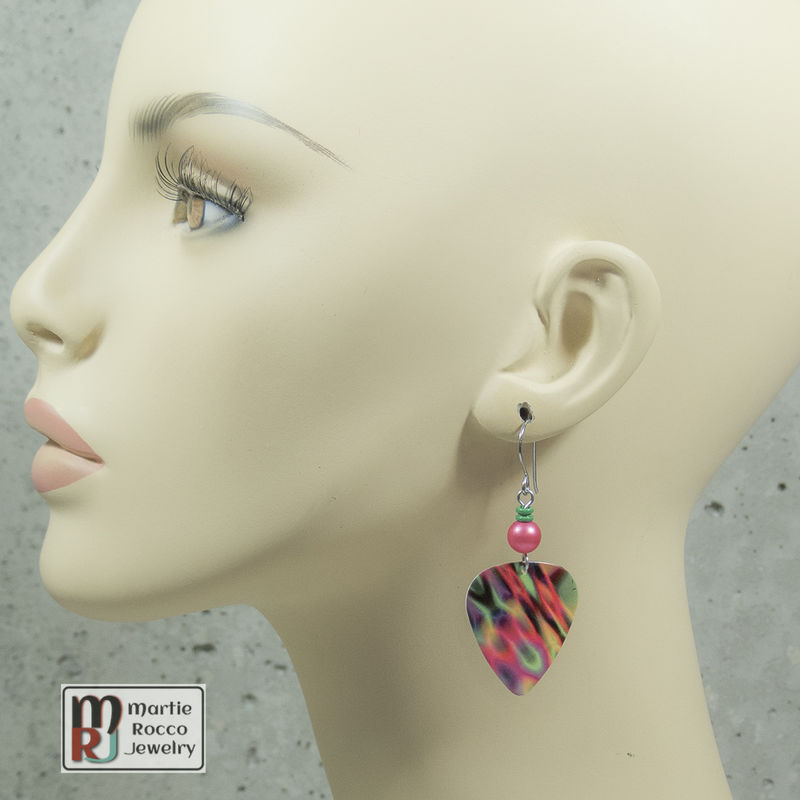 Guitar Pick dangle Earrings neon abstract print  - product images  of