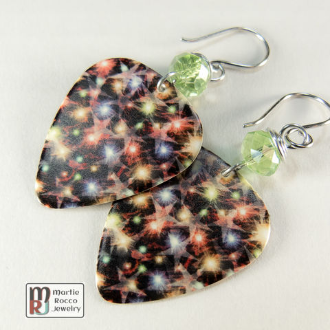 Sparkle,star,print,dangle,Guitar,Pick,Earrings,Red green purple sparkle star print Guitar Pick Earrings