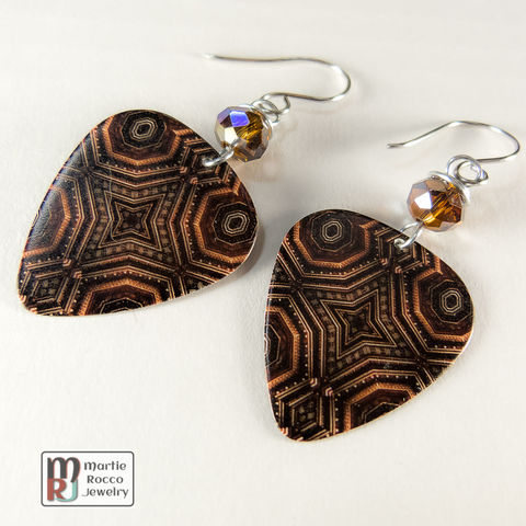 Brown,star,kaleidoscope,print,dangle,Guitar,Pick,Earrings,Brown star kaleidoscope effect print Guitar Pick Earrings