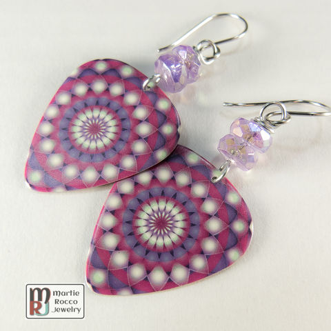 Purple,magenta,mandala,print,Guitar,Pick,dangle,earrings,Purple magenta mandala print Guitar Pick earrings